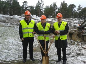 2016-02-01 Beredda för invigning och första spadtaget: Roger Mogert, Ulf Thörnevik och Lennart Francke