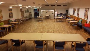 2018-08-27 Stora samlingslokalen förberedd.
